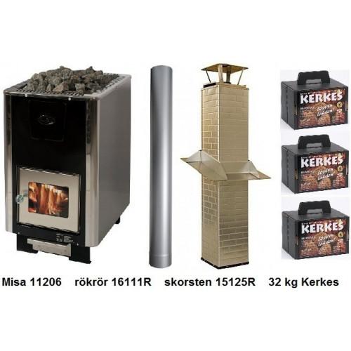 Paket 11206 med rökrör, skorsten, brandskydd och keramiska bastustenar