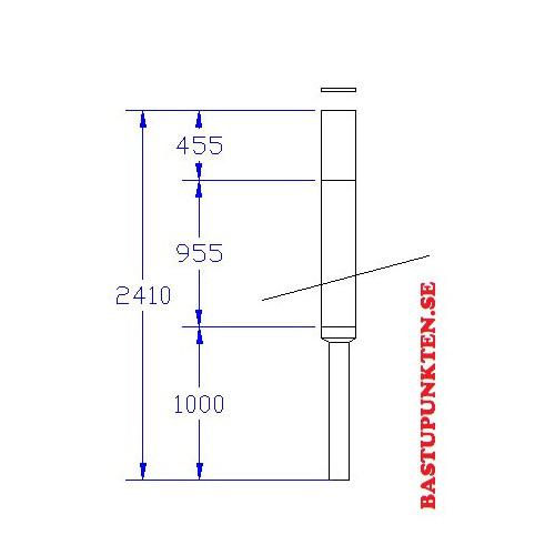 Rund bastuskorsten, måttskiss 2410 mm