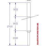 Paket svartlackerad rund skorsten, dia 130/230, L 2910 mm, 1000 mm oisolerat startrör och 1910 mm helisolerad del