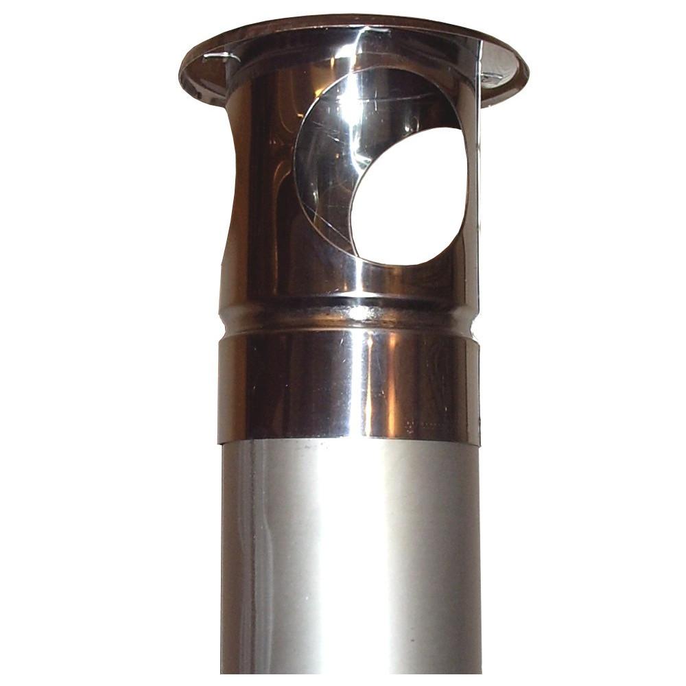 Rostfria oisolerade rökrör 2,5 meter med 90 graders böj för väggenomföring, inkl regnhatt.