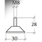 Gummifot M8x30, måttskiss