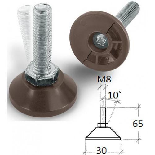 Vinklingsbar ställfot i plast, M8, dia 30 x 65 mm