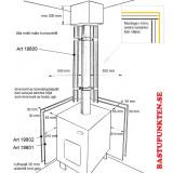 Brandskyddsskiva för bastuaggregat, måttbild vid hörnmontage