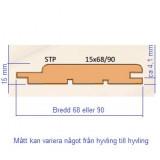 Al eller Asp, bastupanel i STP profil
