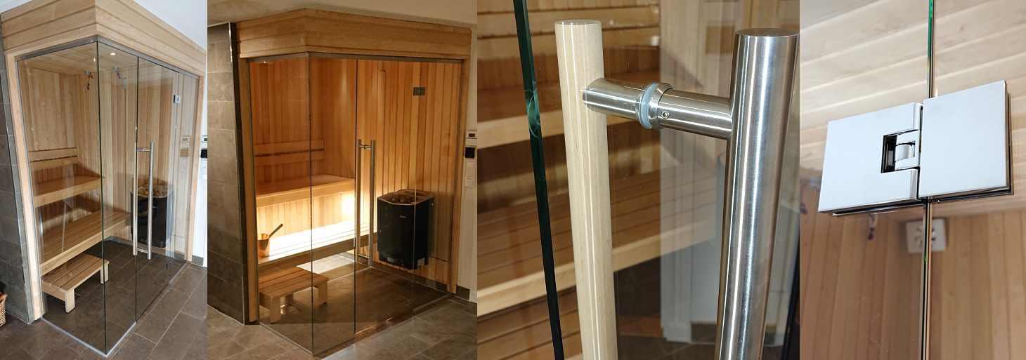 Glasvägg till bastu och badrum