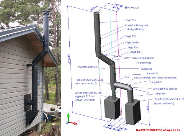 Schiedel skorsten som rundar takfot och CAD-skiss skorsten draget i komplicerade vinklar